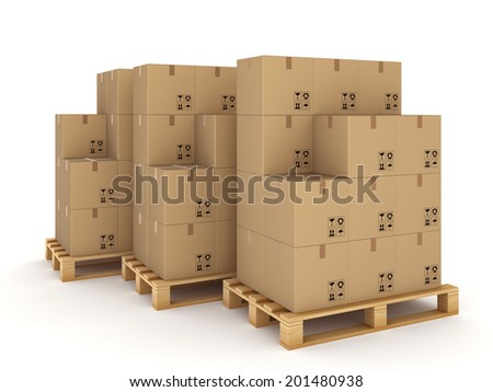 Carton boxes on a pallets.Isolated on white. - stock photo