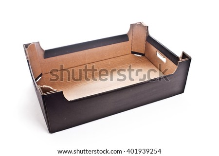 Carton cardboard black-brown box crate for vegetables, fruit, and things. isolated on white background. - stock photo