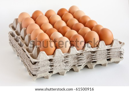 Carton of  fresh brown eggs - stock photo