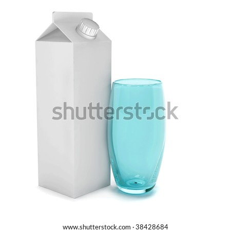 Carton of milk and a glass isolated
