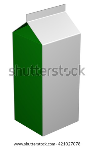 Carton of milk, isolated on white background. 3D rendering.
