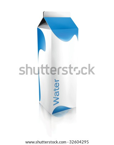Carton of water isolated over a white background