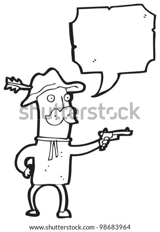 carton old cowboy - stock photo