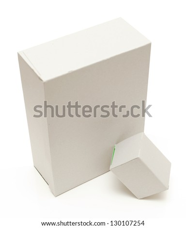 carton square brown open lid isolated on white background - stock photo
