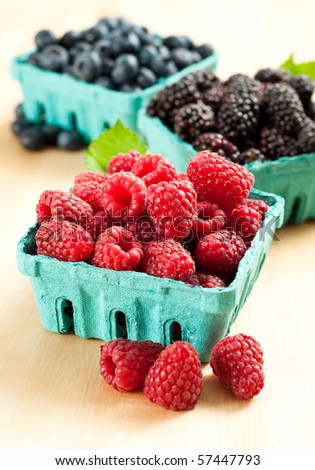 Cartons Filled with Healthy Juicy Berries - stock photo