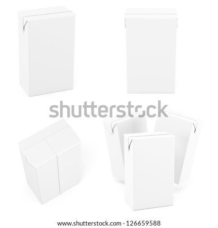Cartons white in different views - stock photo