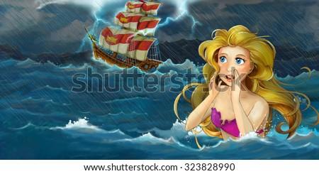 Cartoon adventure illustration - storm on the sea - mermaid watching the ship - illustration for the children - stock photo