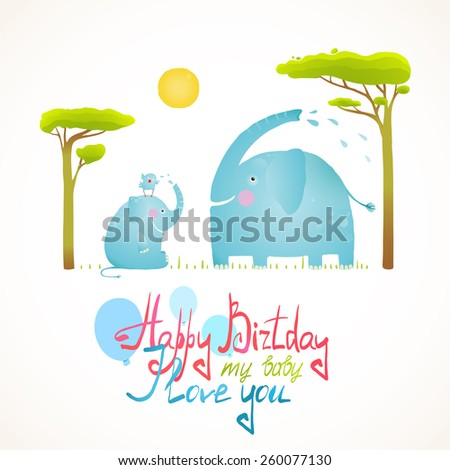 Cartoon African Elephants Bathing Happy Birthday Card. Raster variant. - stock photo