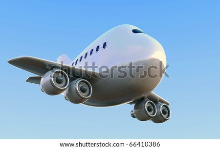 Cartoon 747 airplane against a blue sky
