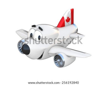Cartoon airplane with a smiling face - Canadian flag - stock photo