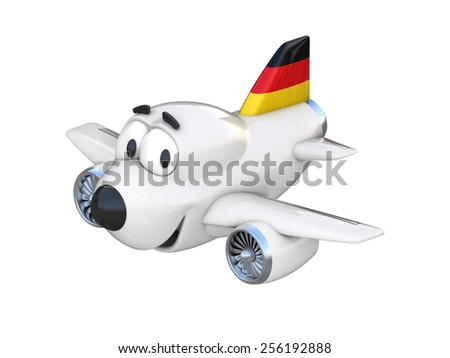 Cartoon airplane with a smiling face - German flag - stock photo