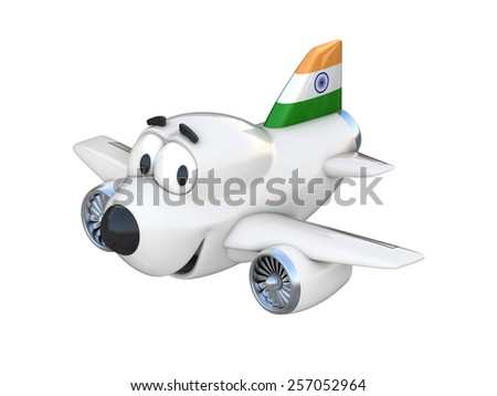 Cartoon airplane with a smiling face - India flag - stock photo