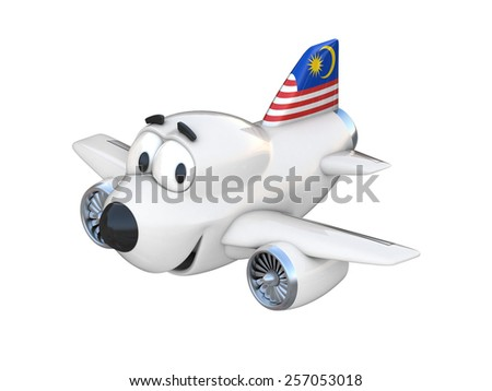 Cartoon airplane with a smiling face - Malaysian flag - stock photo