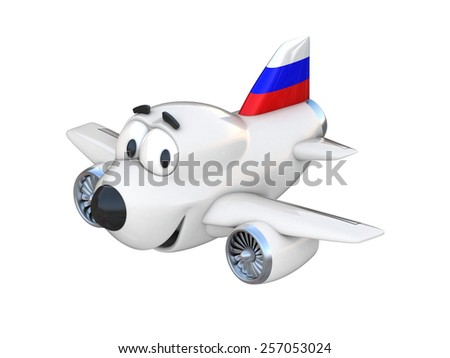 Cartoon airplane with a smiling face - Russian flag - stock photo