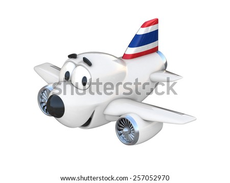 Cartoon airplane with a smiling face - Thai flag - stock photo