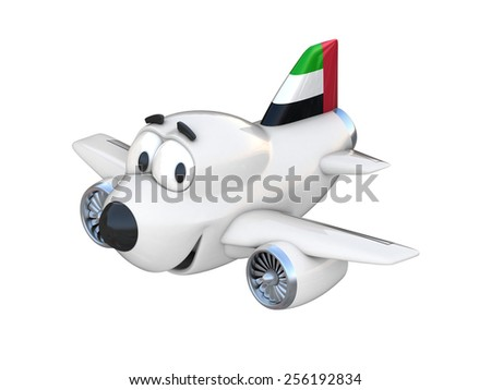Cartoon airplane with a smiling face - United Arab Emirates flag - stock photo