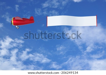 Cartoon Airplane with Banner.