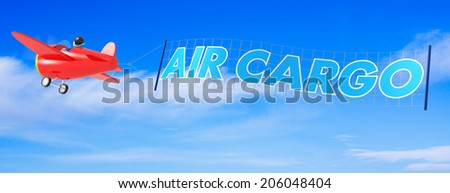 Cartoon Airplanes with Air Cargo Banner. - stock photo