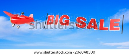Cartoon Airplanes with Big Sale Banner. - stock photo