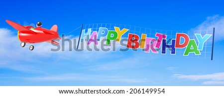 Cartoon Airplanes with Happy Birthday Banner. - stock photo