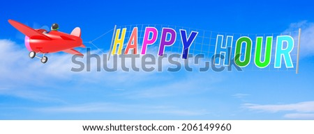 Cartoon Airplanes with Happy Hour Banner. - stock photo