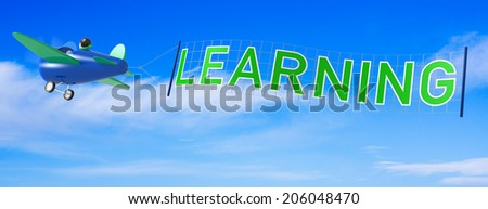 Cartoon Airplanes with Learning Banner - stock photo