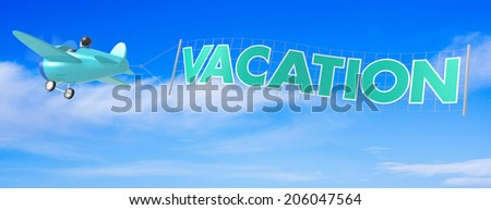 Cartoon Airplanes with Vacation Banner. 3D Rendering - stock photo