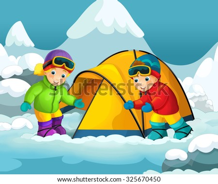 Cartoon alpinists with a tent - illustration for the children