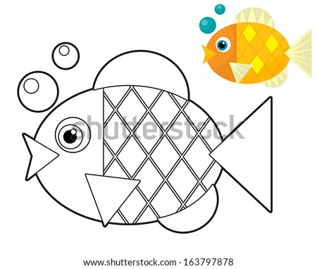 Cartoon animal - coloring page - illustration for the children - stock photo