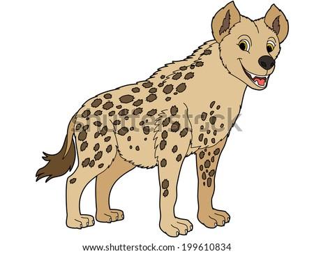 Cartoon animal - hyena - flat coloring style - illustration for children - stock photo