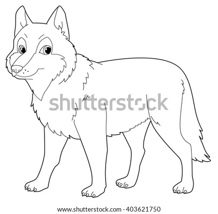 Cartoon animal - wolf - isolated - coloring page - illustration for children - stock photo
