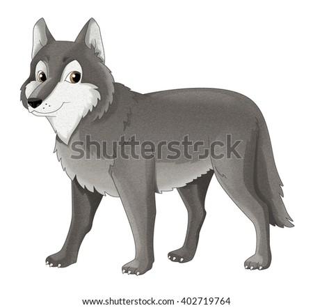 Cartoon animal - wolf - isolated - illustration for children - stock photo
