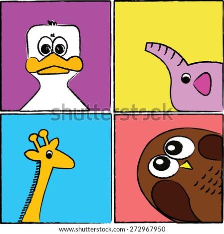 Cartoon animals and pets. - stock photo