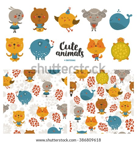 Cartoon animals collection and seamless patterns. Cute fox, rabbit, cat, merinos, bird, elephant, whale, turtle, bear isolated on white background, baby animals in love - stock photo