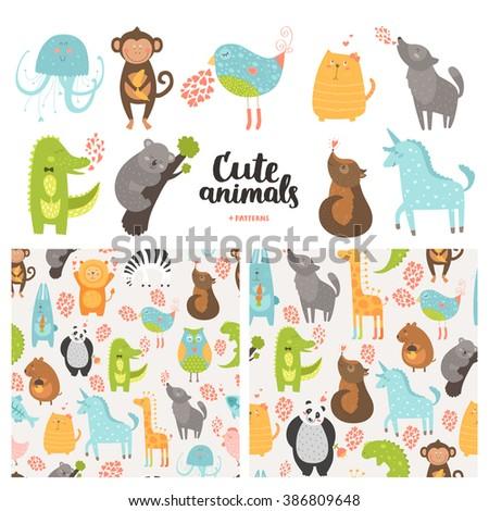 Cartoon animals collection and seamless patterns.  Cute monkey, bird, koala, jellyfish, cat, panda, dog,  crocodile, unicorn, wolf isolated on white background, baby animals in love - stock photo