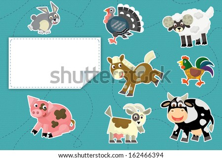 Cartoon animals - label - illustration for the children