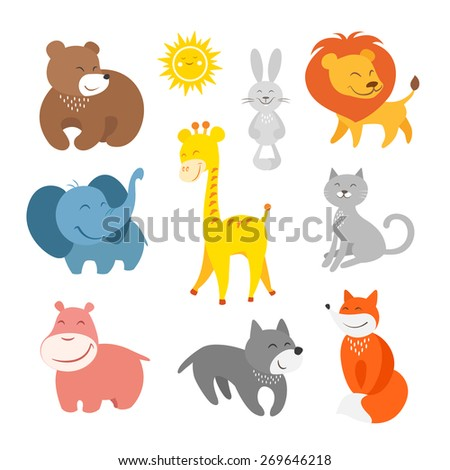 Cartoon animals zoo - stock photo