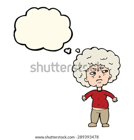 cartoon annoyed old woman with thought bubble - stock photo