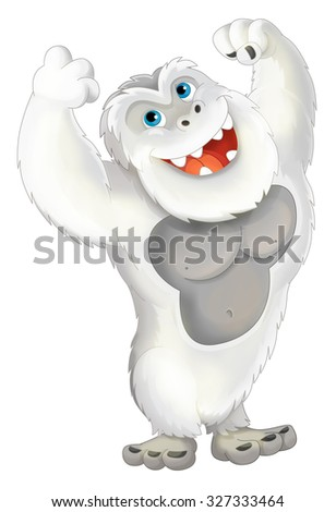 Cartoon ape like yeti - illustration for the children