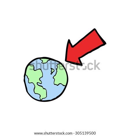 cartoon arrow pointing at earth - stock photo