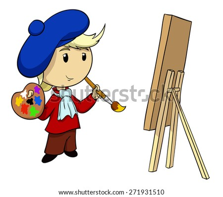 Cartoon artist in beret with palette and brush isolated on white - stock photo