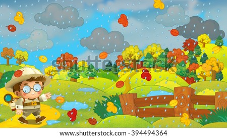 Cartoon autumn nature scene with a traveler - illustration for the children