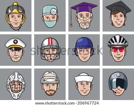 cartoon avatar faces job occupations - stock photo