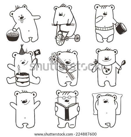 Cartoon Baby Bears in Action Collection. Nine hand drawn  simple childish bears set. Raster variant. - stock photo