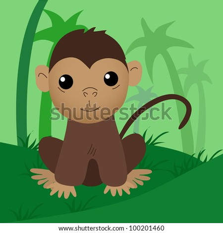 Cartoon baby monkey. Raster version. - stock photo