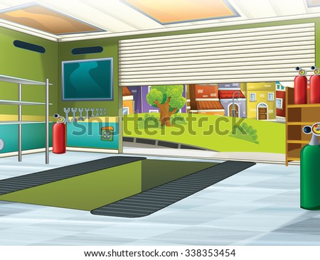 Cartoon background - garage - illustration for the children - stock photo