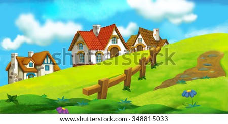 Cartoon background of old village - illustration for the children