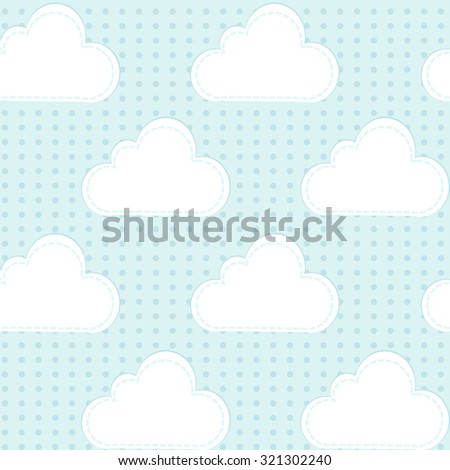 Cartoon background with rain and clouds