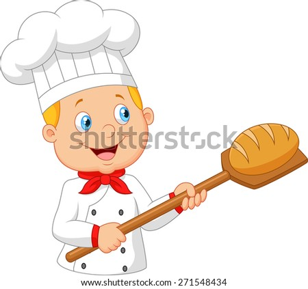 Cartoon baker holding bakery peel tool with bread - stock photo