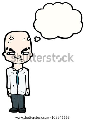 cartoon bald man - stock photo